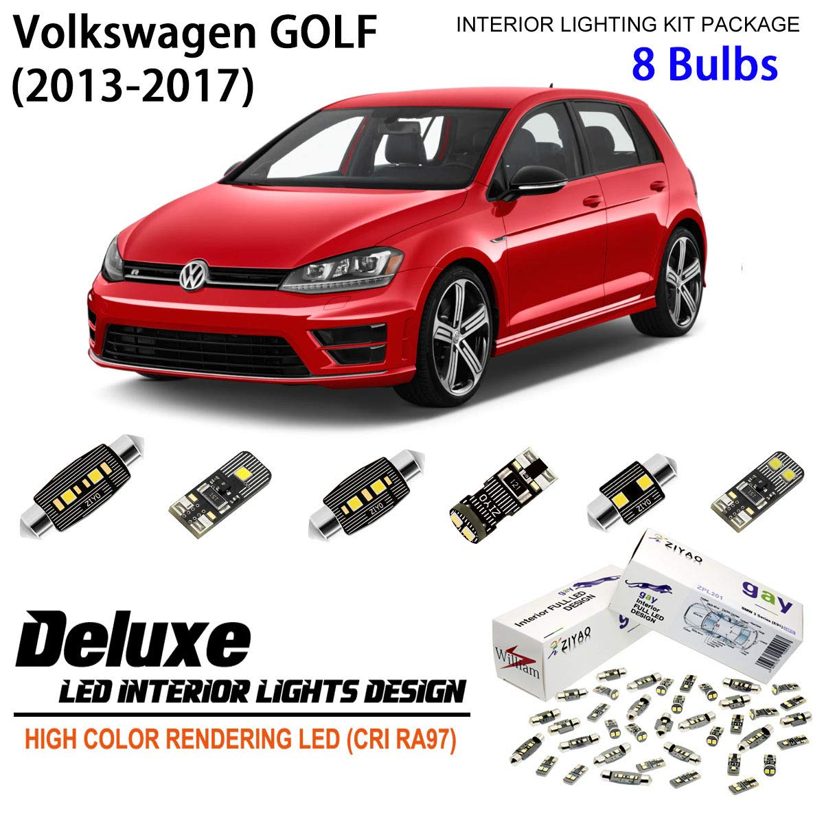 ZIYO ZPL9110- (8 Bulbs) Deluxe LED Interior Light Kit 6000K Xenon White Dome Light Bulbs Replacement Upgrade for 2013-2017 (MK7) Volkswagen Golf/GTI