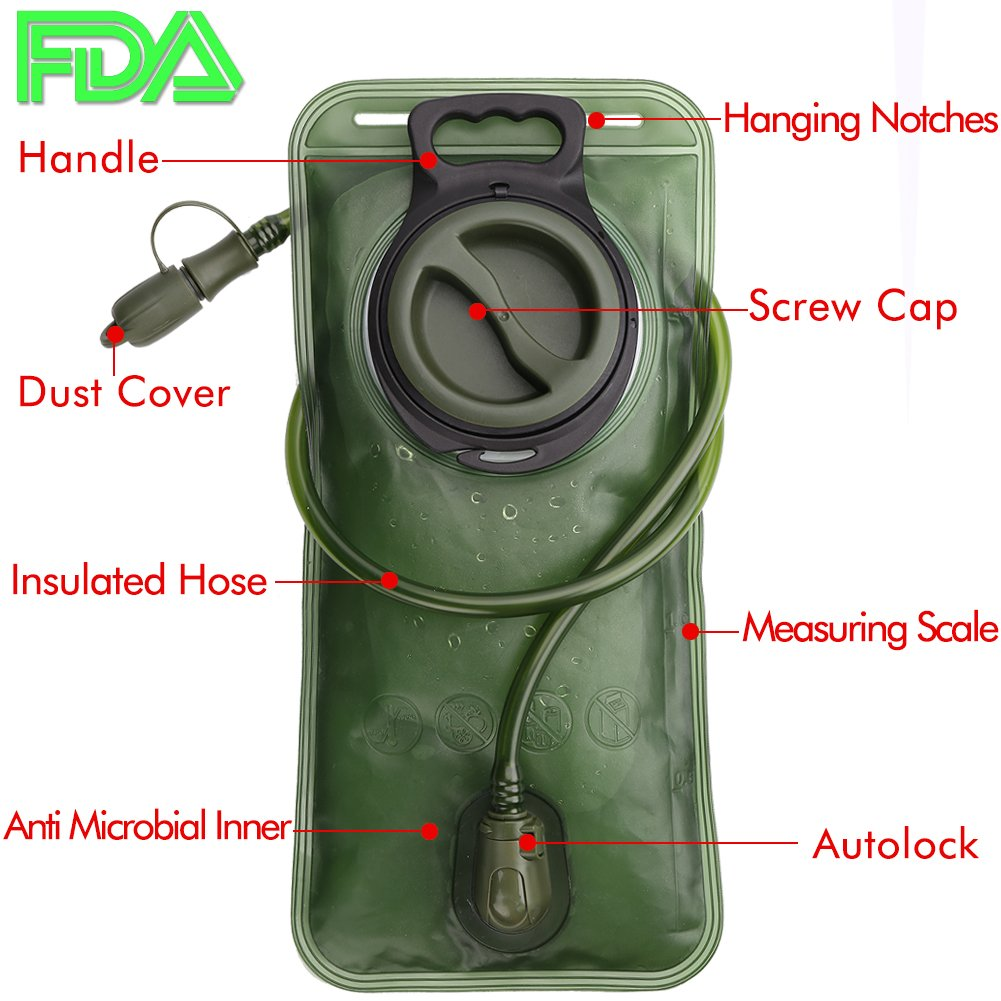Hydration Bladder 2 Liter Leak Proof Water Reservoir, Military Water Storage Bladder Bag, BPA Free Hydration Pack Replacement, for Hiking Biking Climbing Cycling Running, Large Opening, Insulated Tube by CHERAINTI (Image #2)