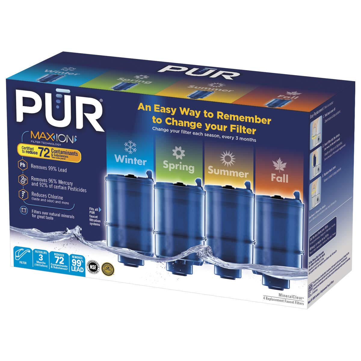 PUR RF99994SP Replacement Filter, 4 Pack, Blue by PUR
