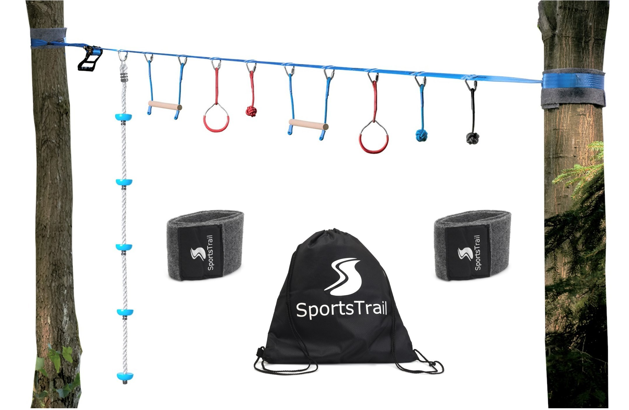 American Ninja Warrior Monkey Bars, 36' Jungle Gym Obstacle Course for Kids and Adults + Climbing Rope, Warrior Training Obstacle Course Equipment, Slackline Gymnastic Bar, Tree protector & Carry Bag