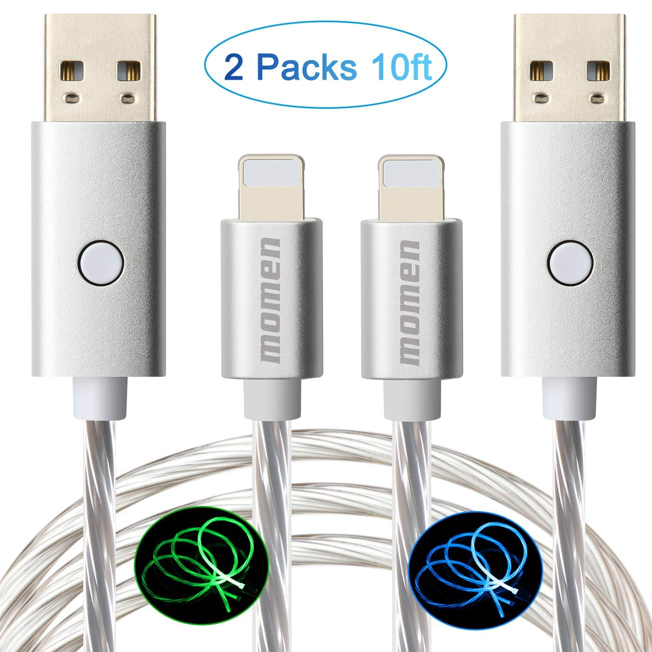 Lighted iPhone Charger Cable 10ft 2Pack Momen Fast Sync Charging Cable LED Flowing Light Charging Cord Compatible with iPhone 11/11 Pro/11 Pro Max/X/Xr/8/8 Plus/7/7 Plus/6s/6 and More(Blue & Green)