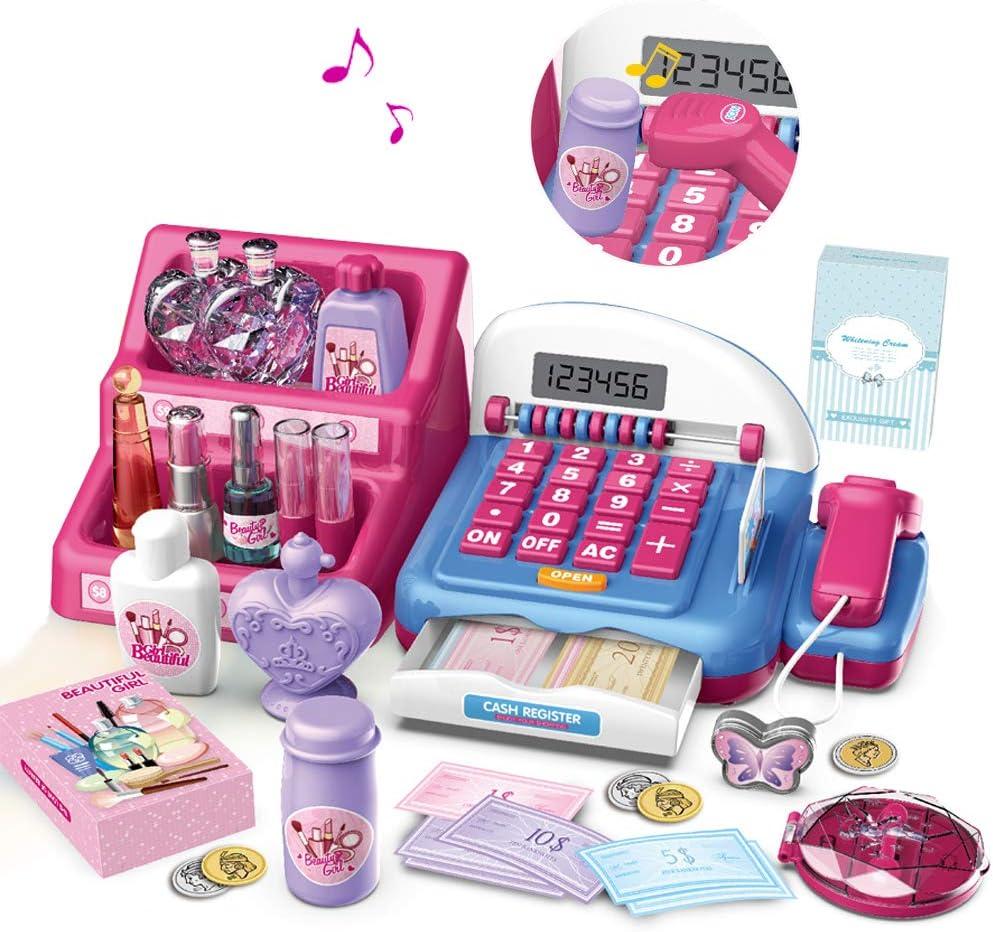 HERSITY Caja Registradora Juguetes Supermercado Infantil con Escáner Sonidos y Luces Juego de Princesas Kit Maquillaje Juguetes Regalos para Niño Niña 3 4 5 6 Años