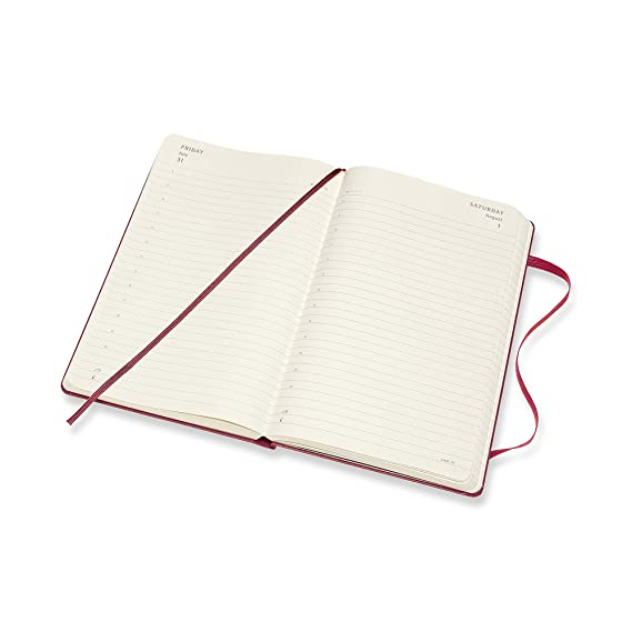 Moleskine - Agenda Diaria de 12 Meses 2020, Tapa Dura y Goma Elástica, Color Rosa Enérgico, Tamaño Grande 13 x 21 cm, 400 Páginas