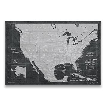 Amazon travel map of united states with pins by conquest maps travel map of united states with pins by conquest maps modern slate style push pin sciox Image collections