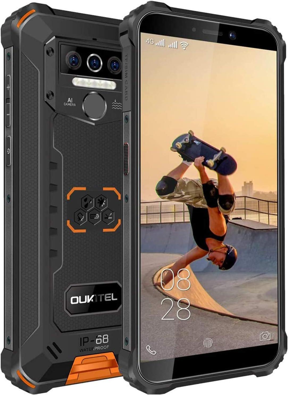 OUKITEL WP5 Móvil Resistente, IP68 Telefonos Movil Impermeable Antigolpes Android 10, 4G Batería Grande de 8000mAh Rugged Móvil, 4+32GB 5.5'' HD+ (Gorilla Glass) Dual SIM/GPS/ 4 Cámaras 4 LED Flash