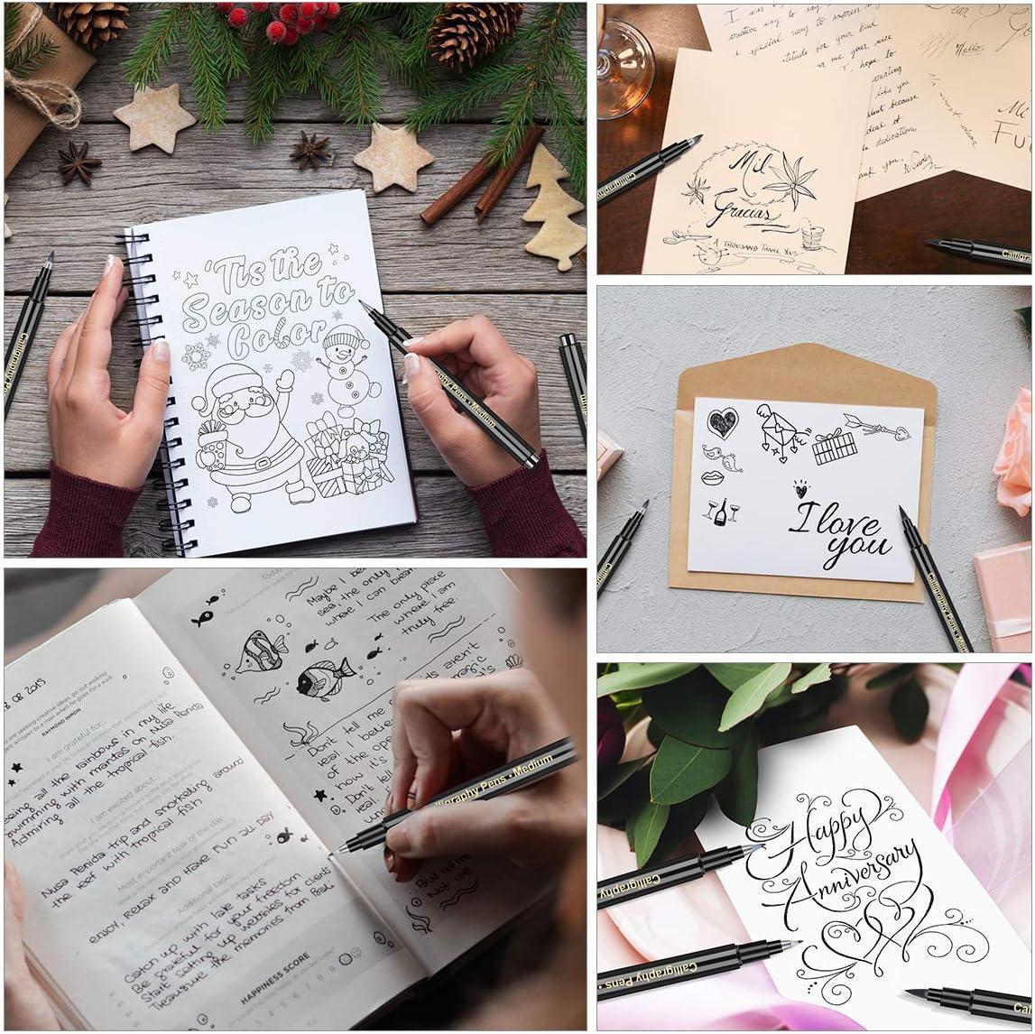 Kalligraphie Stift Handlettering Stifte Kaligraphiestifte set APOGO 6 Calligraphie Stifte Lettering Stifte set f/ür Handlettering /Übungsheft Anf/änger Tagebuch Bullet Journal Zubeh/ör,Brush Pen Schwarz