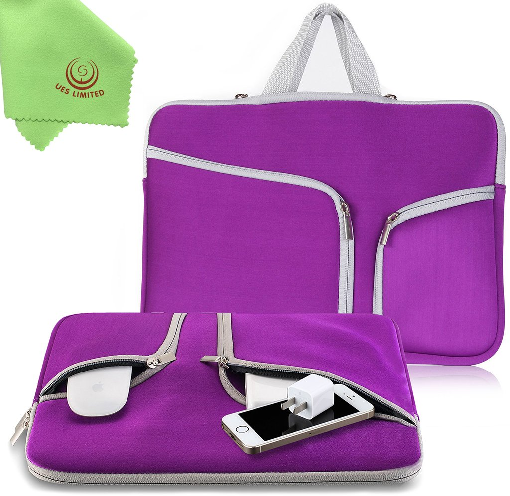 UESWILL Neoprene Soft Sleeve Bag Briefcase for 15'' MacBook Pro/and Laptop up to 15.4'' Ultrabook Chromebook Notebook Netbook Computer Tablet + Microfibre Cleaning Cloth,(Purple)