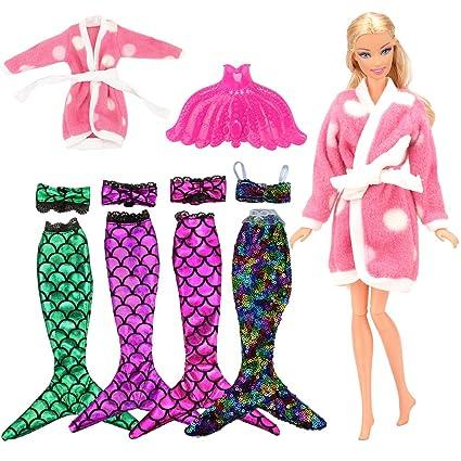 Miunana 6 Artículos: 3 Traje de baño sirena (Verde, Rojo, Púrpura) + 1 Camisón Rosado + 1 Traje de baño sirena con Lentejuelas arco iris + 1 Cola de ...
