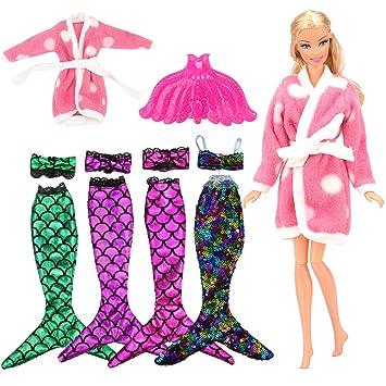 Paillettes Arc Poisson Bain Peignoir Sirène1rose 1 Maillot 1maillot Barbie Miunana En De Ciel Poupée À 3 Caudale Pour q345ALcRj