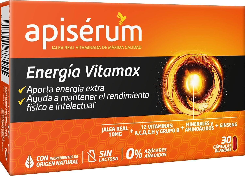 Apisérum Vitamax Cápsulas - Aporte de Energía Extra y Vitalidad Favorece el rendimiento físico e intelectual Con Jalea Real, Vitaminas A,C,D,E,H y grupo B, Minerales, Aminoácidos, Ginseng