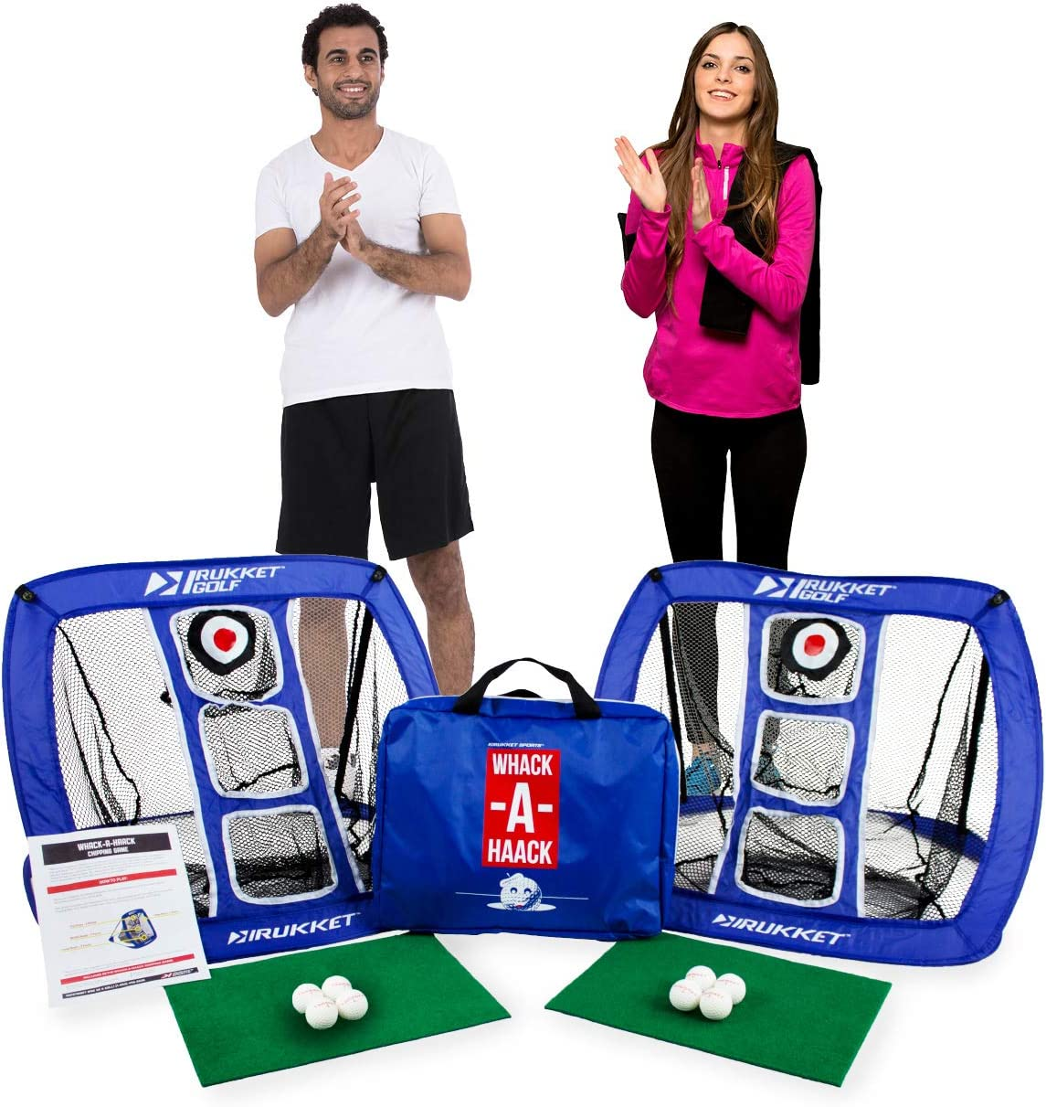 Rukket Sports Golf Chipping Net Cornhole Game Chip Outdoor Indoor at Beach, Backyard or Tailgate Golfing Practice Games for Adults and Kids
