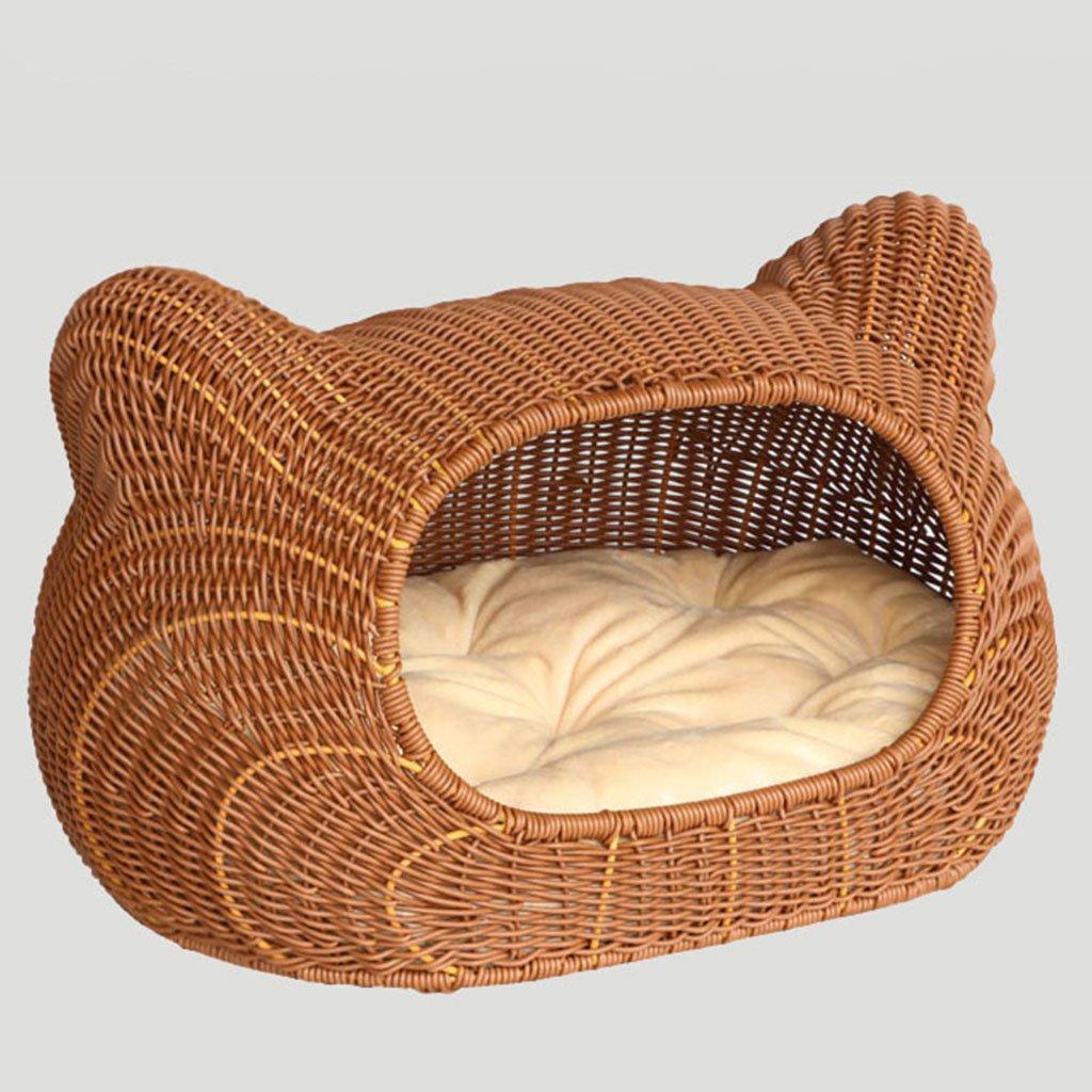 Lettiera Lettiera Lettiera per gatti cuccia per animali domestici nido per animali domestici nido universale rattan lettiera gatto rimovibile gabbia per cani ( Colore   Wood colore , Dimensione   553233cm ) 66e222