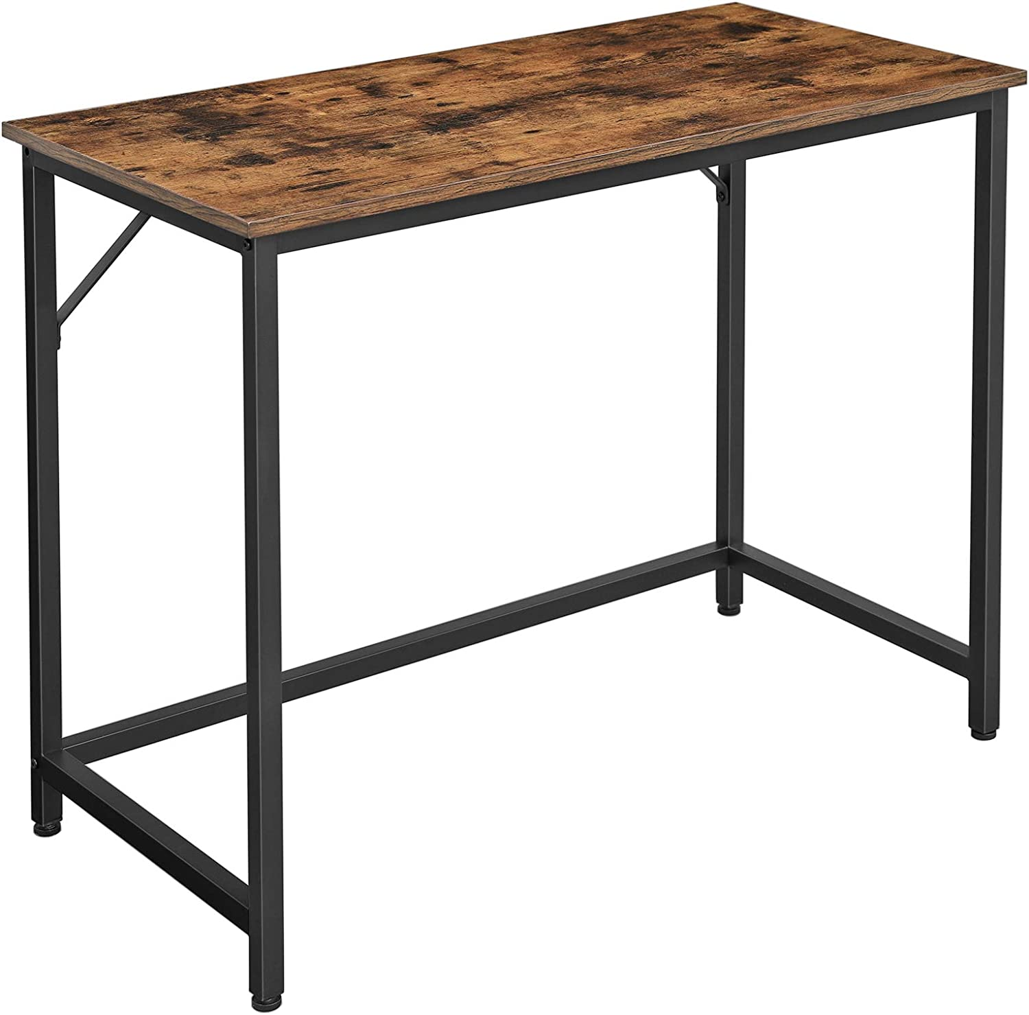VASAGLE Computer Desk, 39-Inch Writing Desk, Home Office Small Study Workstation, Industrial Style PC Laptop Table, Simple Assembly, Metal Frame, Rustic Brown and Black ULWD41X