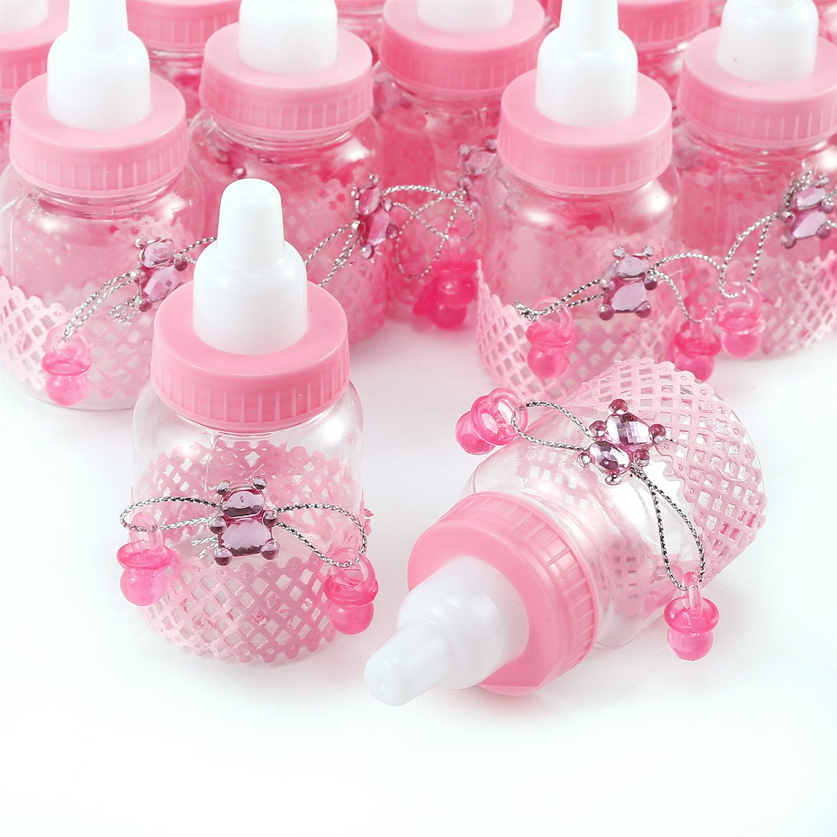CLE DE TOUS - 24pcs Mini biberón Dulceros Recuerdos para Dulces Regalos para baby showers Bautizo (Rosa Osito con chupete): Amazon.es: Hogar