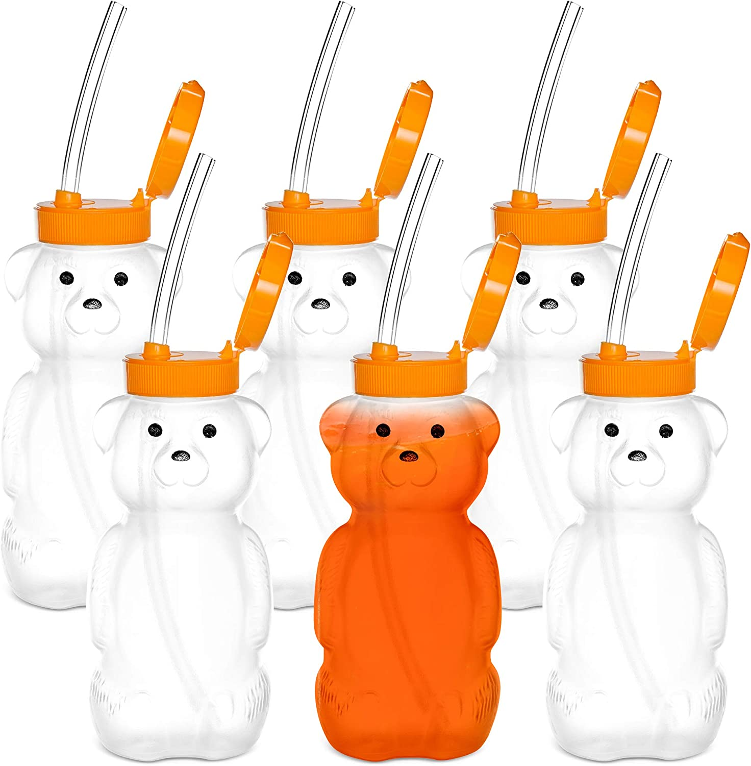Special Supplies Juice Bear Bottle Drinking Cup with Long Straws, 6 Pack, Squeezable Therapy and Special Needs Assistive Drink Containers, Spill Proof and Leak Resistant Lids