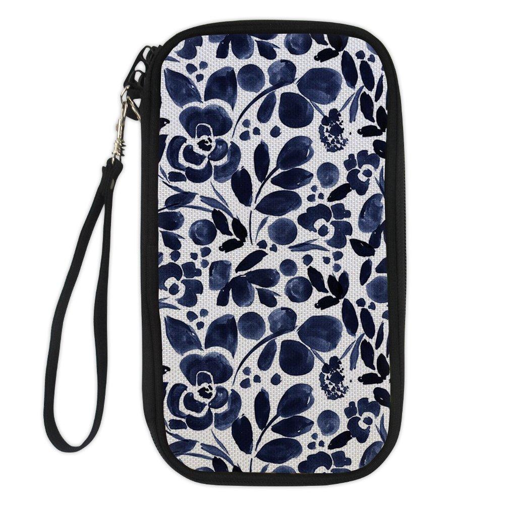 Dellukee Passport Holder For Women Flower Pattern Large Zipper Wristlet Travel Wallet