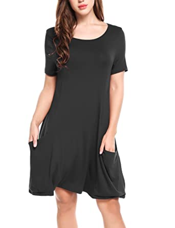 988796a1ccf1 Beyove Women s Short Sleeve Loose Casual T-Shirt Dress with Pockets Black S