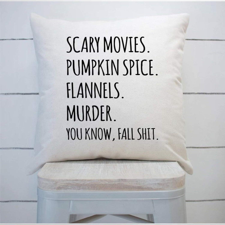 BYRON HOYLE Scary Movies Pumpkin Spice Funda de cojín, funda de almohada de lino rústico decorativa lumbar para silla habitación sofá coche, decoración del hogar, inauguración de la casa 45 x 45 cm
