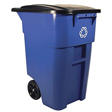 Rubbermaid Commercial Products BRUTE Rollout Wheeled Recycling Can/Bin, 50-gallon (FG9W2773BLUE)