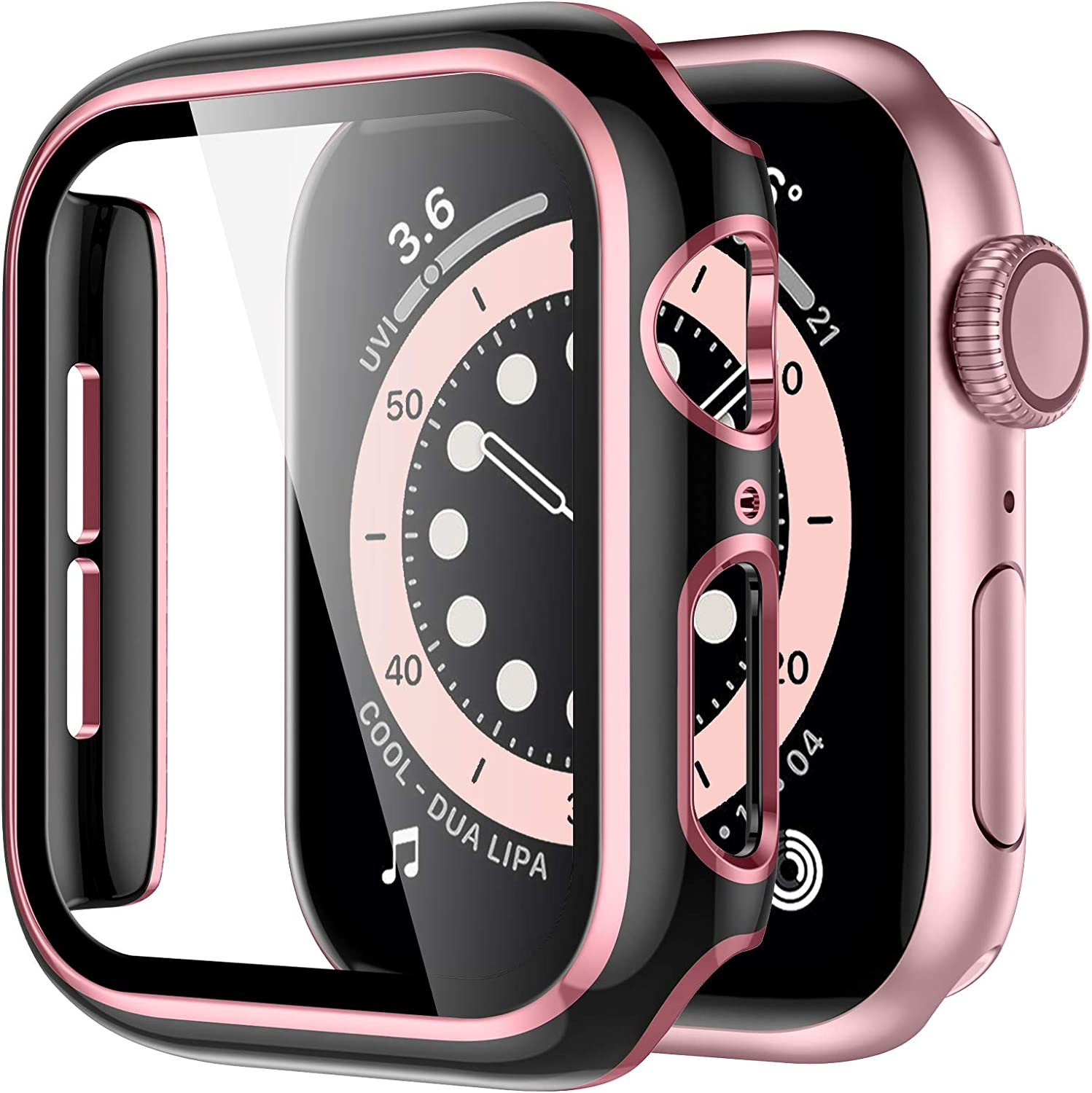 GEAK Compatible with Apple Watch 38mm Screen Protector, Full Coverage Black Bumper Protective Case Pink Edge with Screen Protector for iWatch Series 3/2/1 Women Men Black/Rose Pink