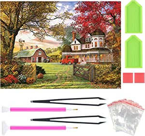 5D Full Diamond Painting Kits for Adults Full Drill Diamond Embroidery Kit Pumpkin Farm Home Wall Decor by 1216 Inch
