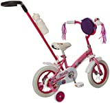 Schwinn Petunia Steerable Kids Bike, Featuring Push Handle for Easy Steering, Training Wheels, Enclosed Chainguard, Quick-Adjust Seat, and 12-Inch Wheels, Pink/White