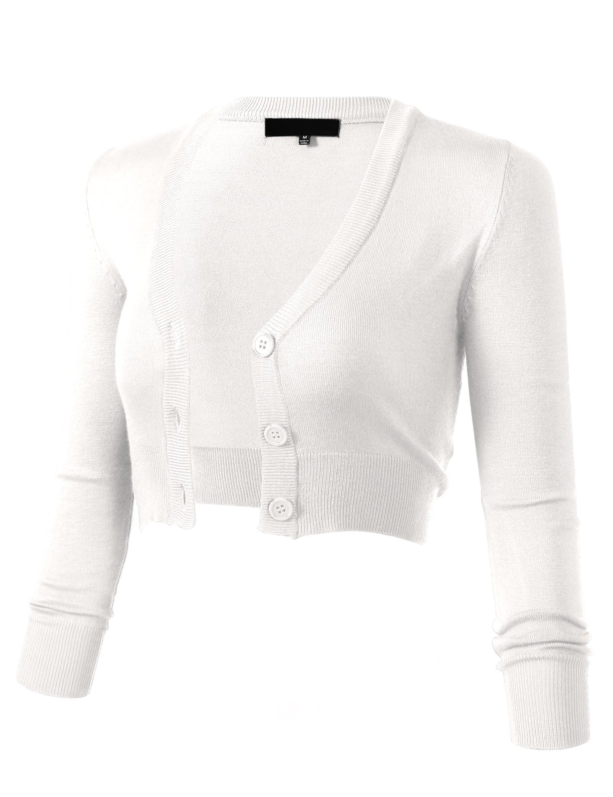 Women's Solid Button Down 3/4 Sleeve Cropped Bolero Cardigans XL White CO129