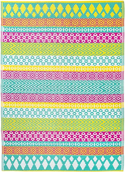 Talking Tables Boho Woven Waterproof Outdoor Rug Plastic Decking Patio Bathroom Lightweight /& Non Slip Mat with Geometric Pattern Picnic for Garden Utility
