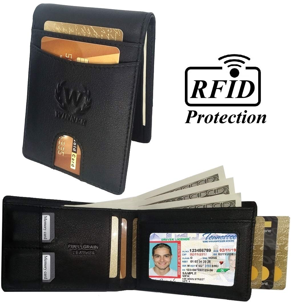 WINNER RFID Blocking Slim Bifold Genuine Full Grain Leather Minimalist Front Pocket Black Compact Wallet for Men with Gift Box