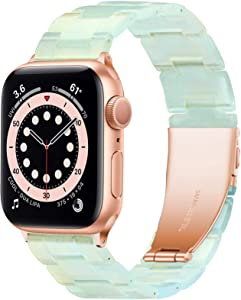 YGTIECS Resin Apple Watch Band Compatible with Apple Watch Band 42mm Women, Combine with Stainless Steel Connector for Apple Watch Band 44mm Series SE 6 5 4 3 2 1 for Women and Man-Phantom Green