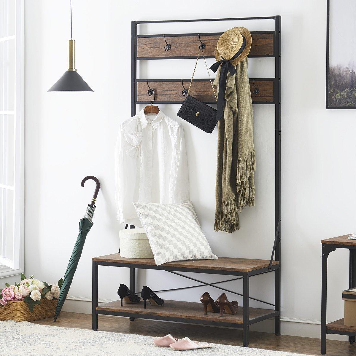 Ok Furniture 72 Inch Hall Tree With Storage Bench