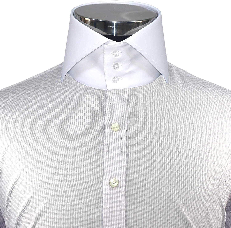 WhitePilotShirts Hombre Alto Difusión Cuello Lila Cuadros 3