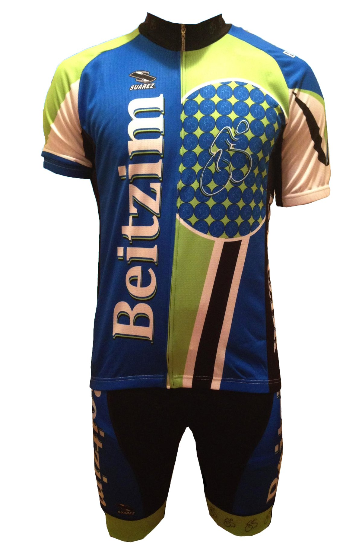 Men's Pro Cycling Jersey and Bib Shorts Set: Beitzim Team Apparel Blue