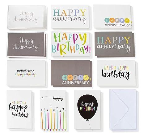 Amazon 120 Pack Happy Birthday Cards And Happy Anniversary