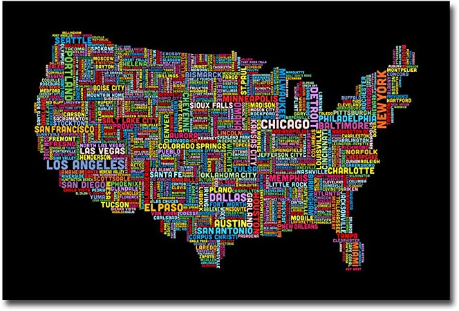 Us Cities Text Map Ii By Michael Tompsett 16x24 Inch Canvas Wall Art Prints Posters Prints Amazon Com