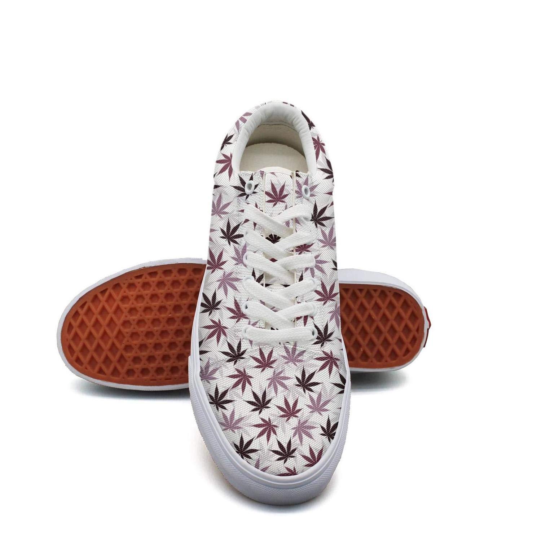 Opr7 Pink Cannabis Leaf Women Lace-Up Skate Shoes Canvas Upper Loafer Comfort