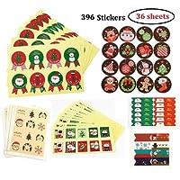 MKISHINE 396pz 36 fogli Adesivi Decorative,Sticker Decorazioni Scrapbooking Diario,Natalizi Stickers Decorazione per Natale Chiudi Buste Regalo Sacchetto Bomboniere
