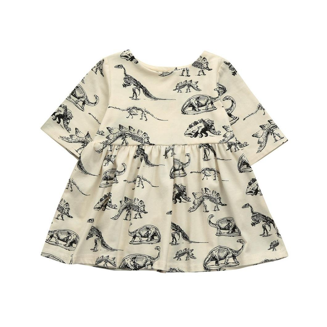 Staron Baby Dress Newborn Clothes Cartoon Dinosaur Print Casual Cotton Dresses
