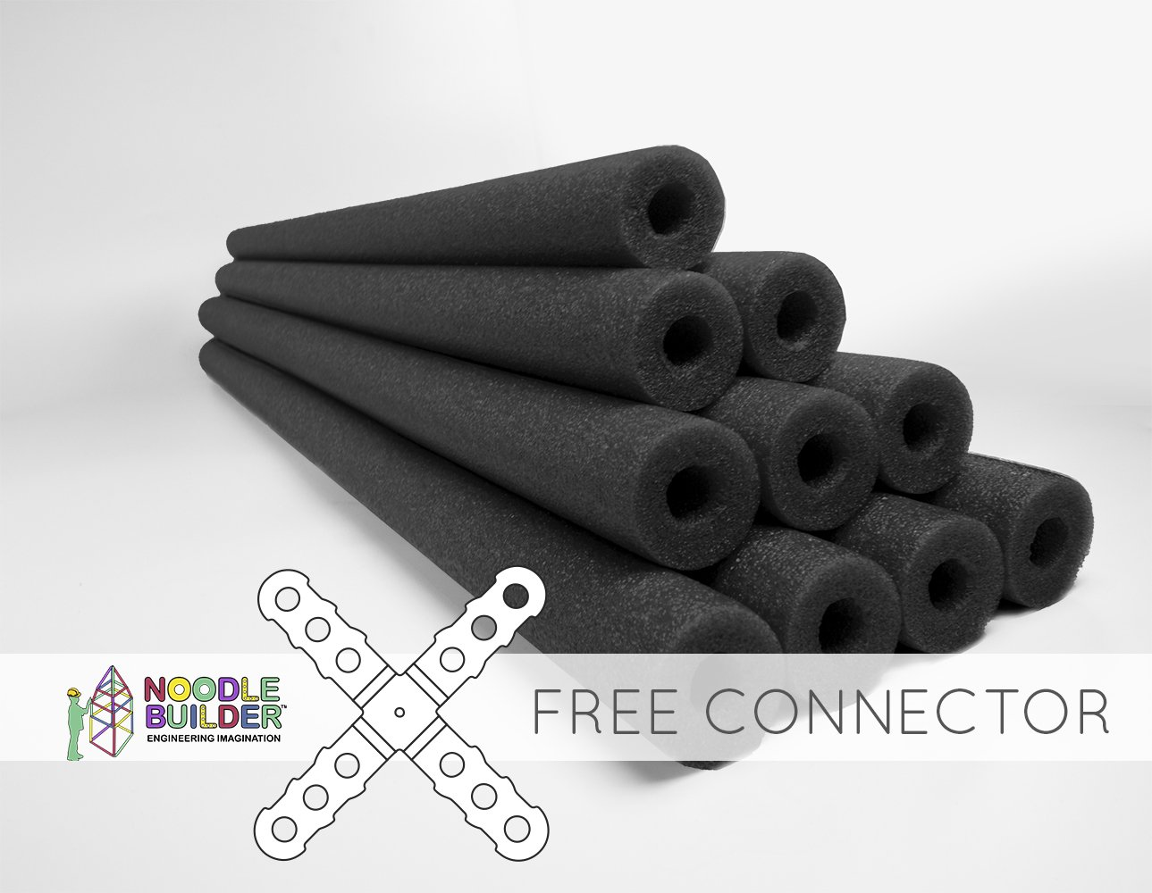 Oodles of Noodles Deluxe Foam Pool Swim Noodles 10 Pack Black 52 Inch Wholesale Pricing Bulk Pack and Free Connector