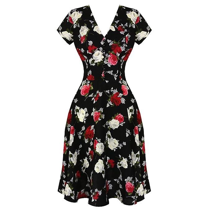 Hell Bunny - Vestido - Floral - para Mujer Negro Negro 38