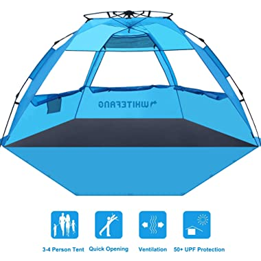 WhiteFang Beach Tent, Pop Up Instant Family Tent with UPF 50 Sun Protection,3-4 Person Automatic & Windproof Sun Shelter Cabana with Carrying Bag, Stakes,Sandbag for Beach