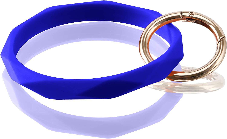 Huakan Key Ring Bracelet Keychain Silicone Bangle for Women and girls Diamond Shaped