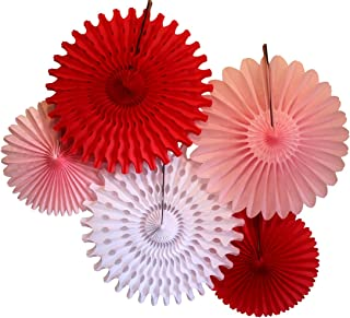 product image for Devra Party 5-Piece Honeycomb Fans, Valentine Red White Pink