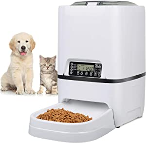6.5L Pet Feeder,Automatic Cat Feeder | Timed Programmable Auto Pet Dog Food Dispenser Feeder for Kitten Puppy - Portion Control Up to 4 Meals/Day,Voice Recording,Battery and Plug-in Power