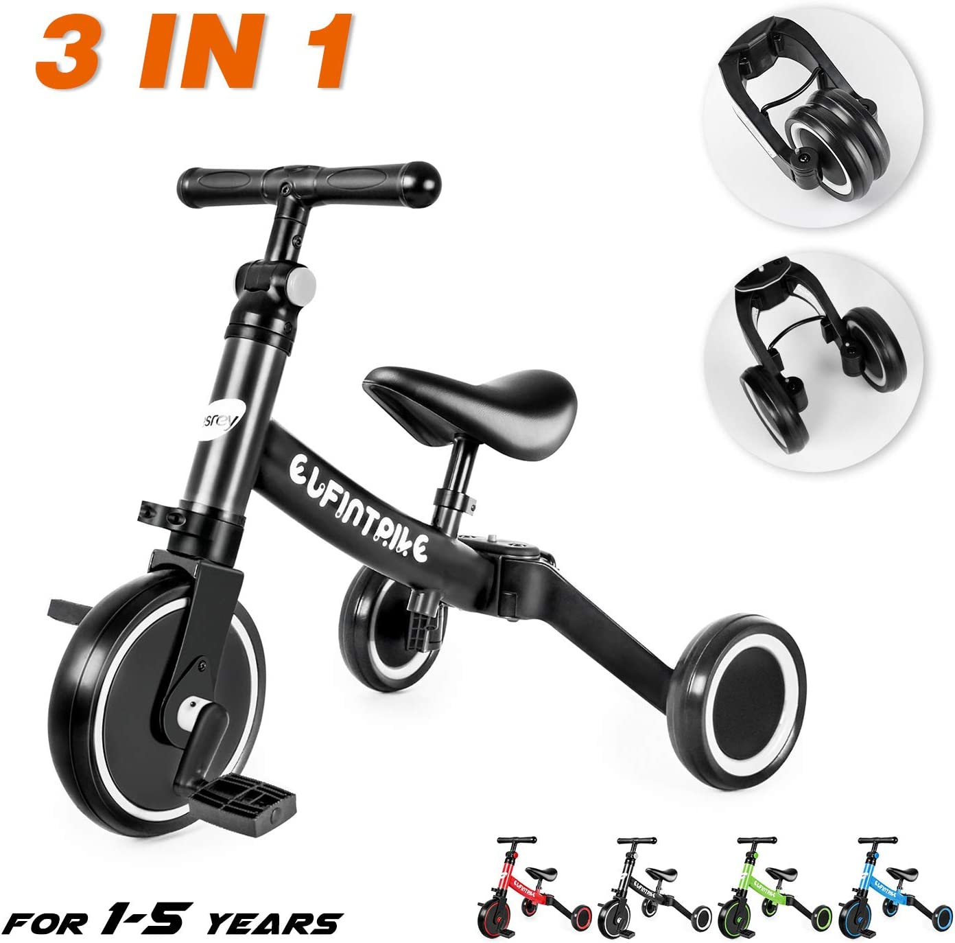 besrey - Bicicleta 3 en 1 para niños con diseño de Triciclo y 3 ...