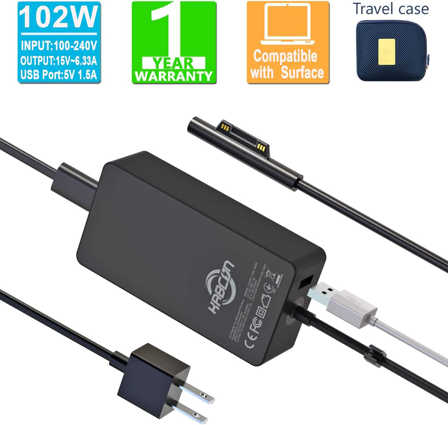 Surface Book 2 Charger,102W 15V 6.33A Power Supply Adapter for Microsoft Surface Book 2,Surface Book,Surface Pro 6,Surface Pro,Surface Pro 3 Pro 4,Surface Laptop Laptop 2 with 6Ft Cable &a Carry Pouch