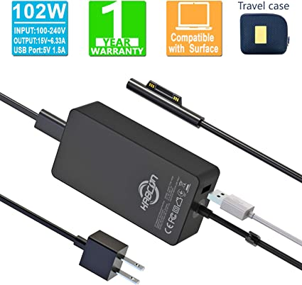 102W 15V 6.33A 1798 Power Supply Adapter for Microsoft Surface Book 2 Pro 3 4