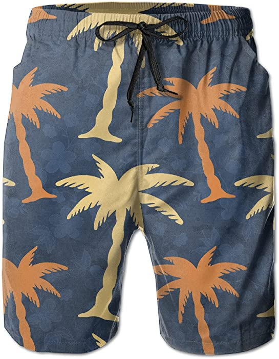 6068b3671f Amazon.com: Man Coconut Palm Tree Patterns Graphic Design Casual Quick Dry Swim  Trunks Fashion Beach Shorts: Clothing