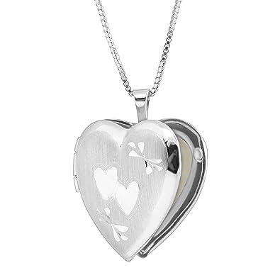 6387380dc7e62 Amazon.com: Classic Medium Double Etched Heart Locket Necklace ...