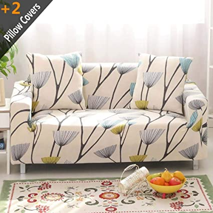 Swell Iisutas Stretch Couch Covers Sofa Slipcovers Fitted Cover Seat Furniture Protector With Two Pillow Case 70 90 Sofa Dandelion Theyellowbook Wood Chair Design Ideas Theyellowbookinfo